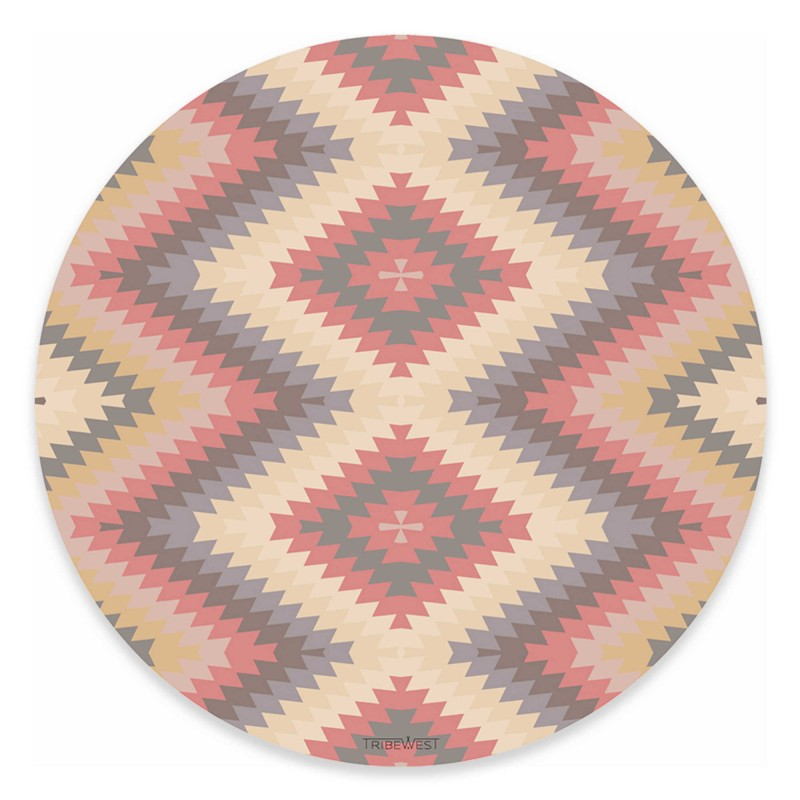 Tribe West Mexican Kilim Round Play Mat in Pink
