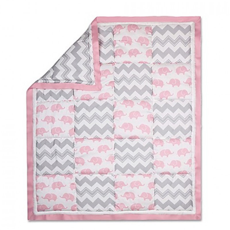 The Peanut Shell® Elephant Patchwork Quilt in Pink/Grey