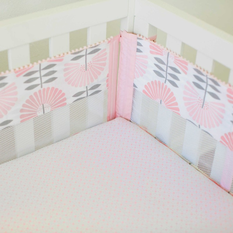 Petunia Pickle Bottom® Dreaming in Dax 4-Piece Secure-Me Crib Liner in Pink/Grey