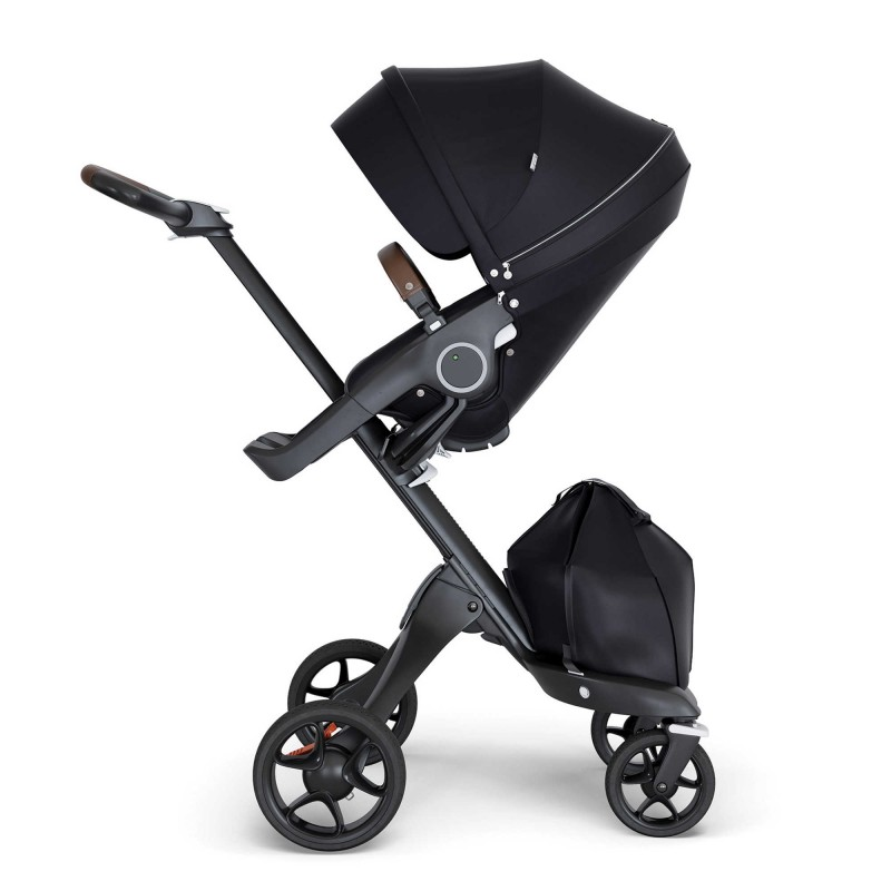 Stokke® Xplory® Stroller with Black Frame and Brown Handle
