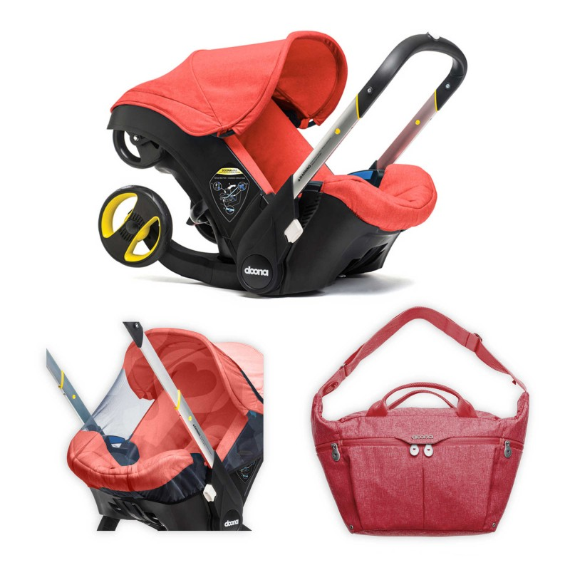Doona™ Infant Car Seat/Stroller Bundle with All Day Bag and Insect Net in Red/Love